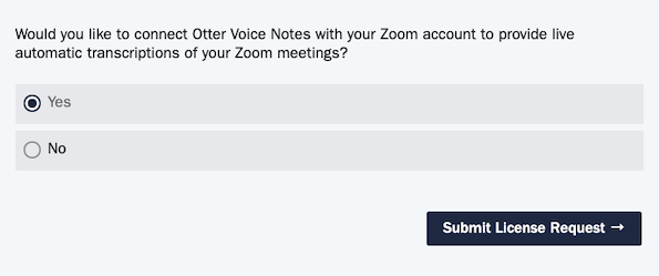 Qualtrics form screenshot: Would you like to connect Otter Voice Notes with your Zoom account to provide live automatic transcriptions of your Zoom meetings? Yes or No